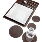 Glasuntersetzer rund, Ø10 cm, rustikales Used-Leder, 2 Stück