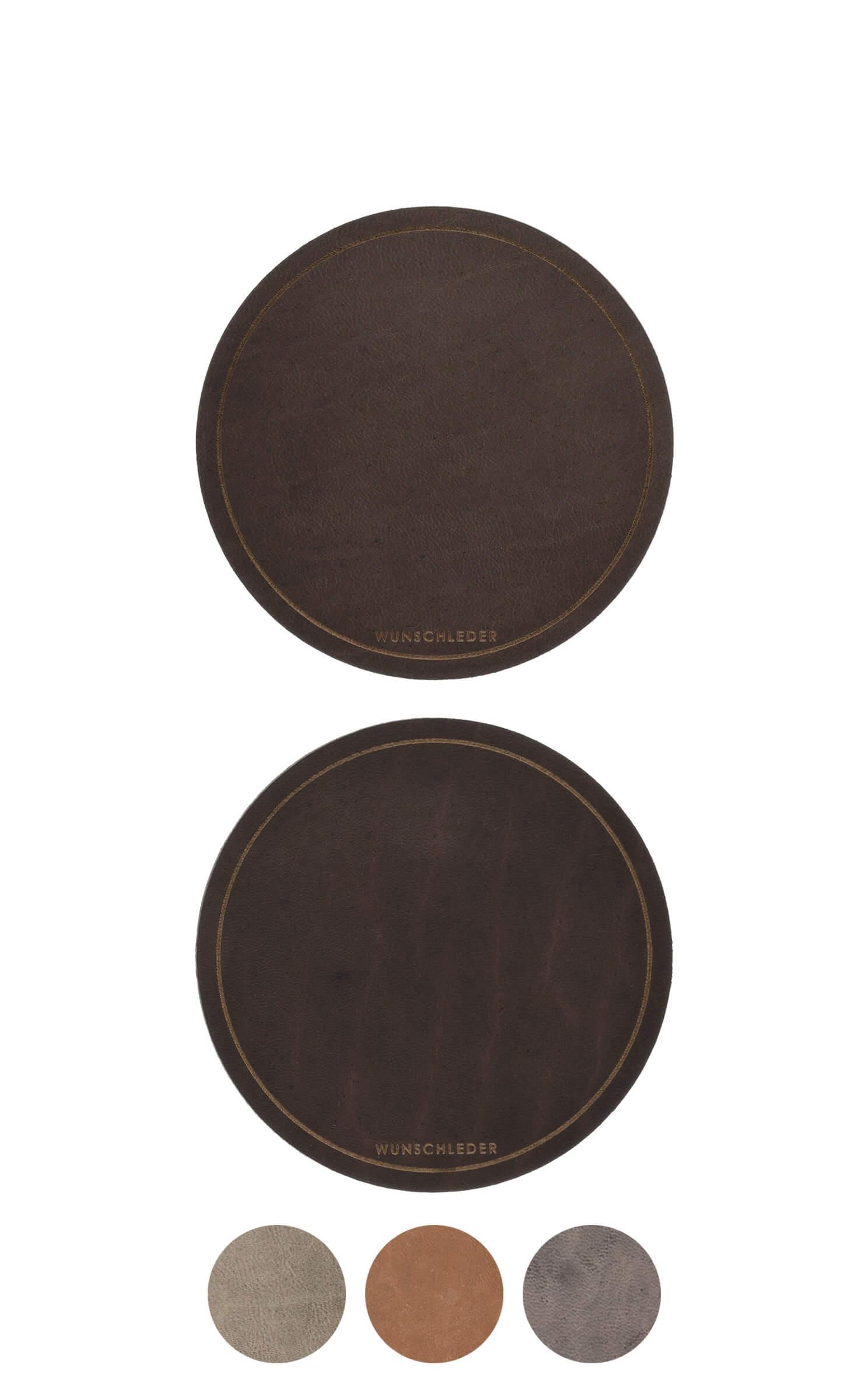 Untersetzer rund, rustikales Used-Leder, Ø10 cm, 2 Stück
