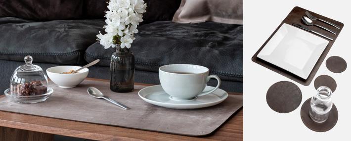 Tischsets Leder, Echtleder | schön gedeckter Tisch | Wunschleder Home