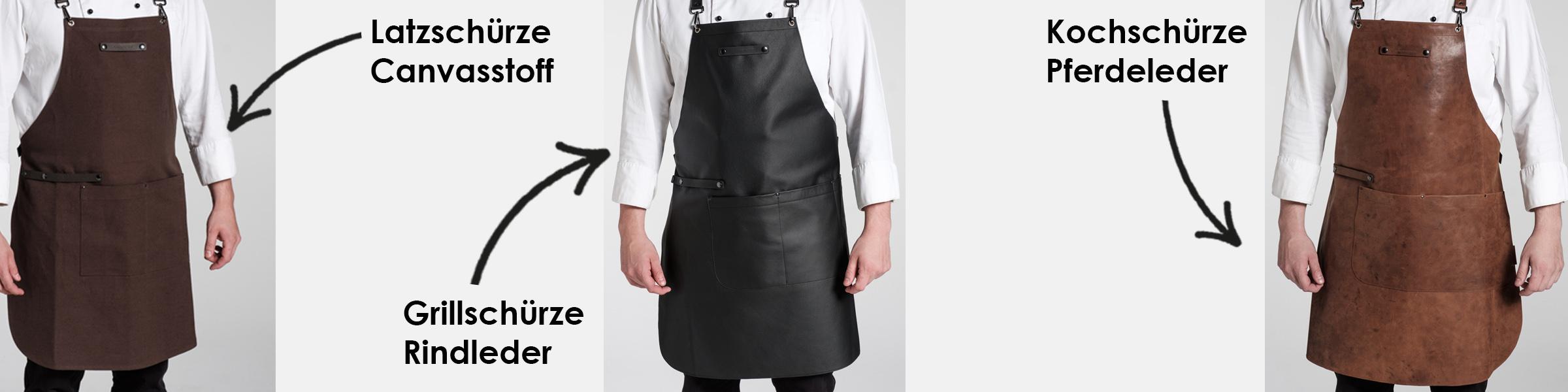 Schürze Nacken entlastendes Trägersystem Kochschürze Lederschürze Grillschürze verschiedene Modelle Canvas Leder