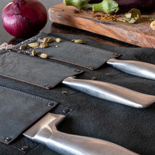 Messertasche für Köche, Messertasche Leder, Messer Tasche Kochmesser, Rolltasche, Messerrolle, Wunschleder Home