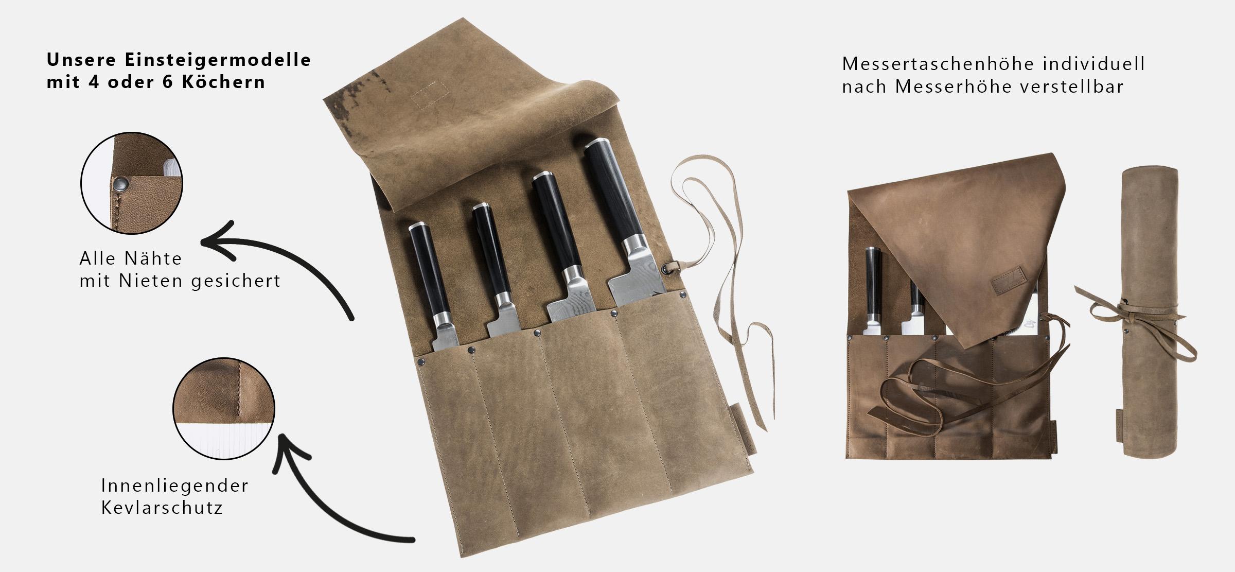 Messertasche Leder Messerrolle Rolltasche für Kochmesser Wunschleder HOME
