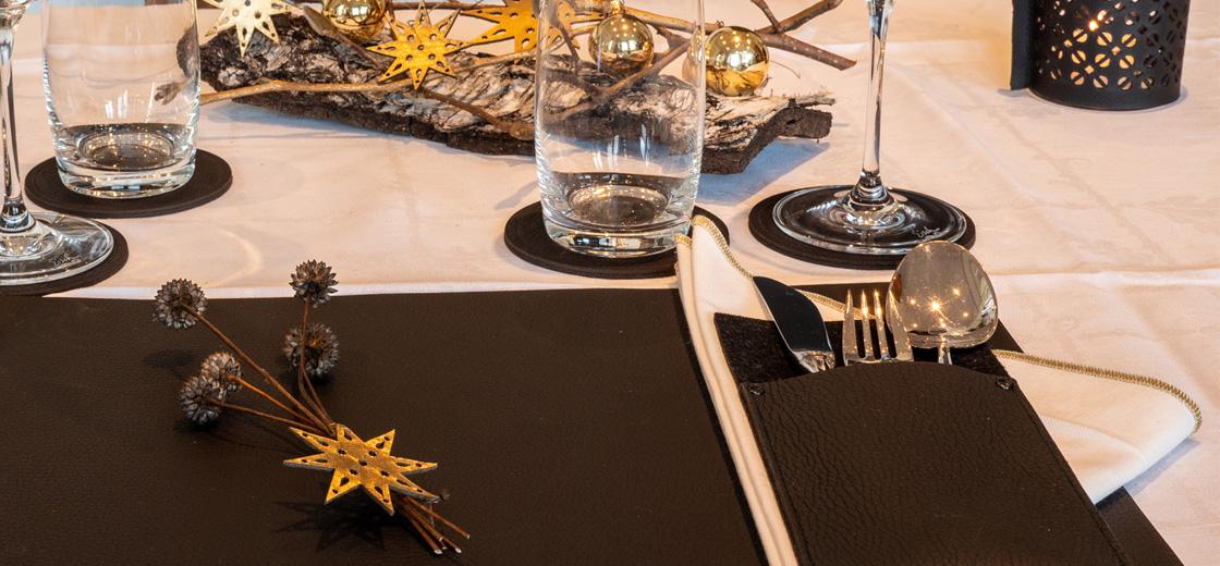 Tischdeko, Tischdekoration Leder, Dekoration weihnachtlich, Interior, Wunschleder Home