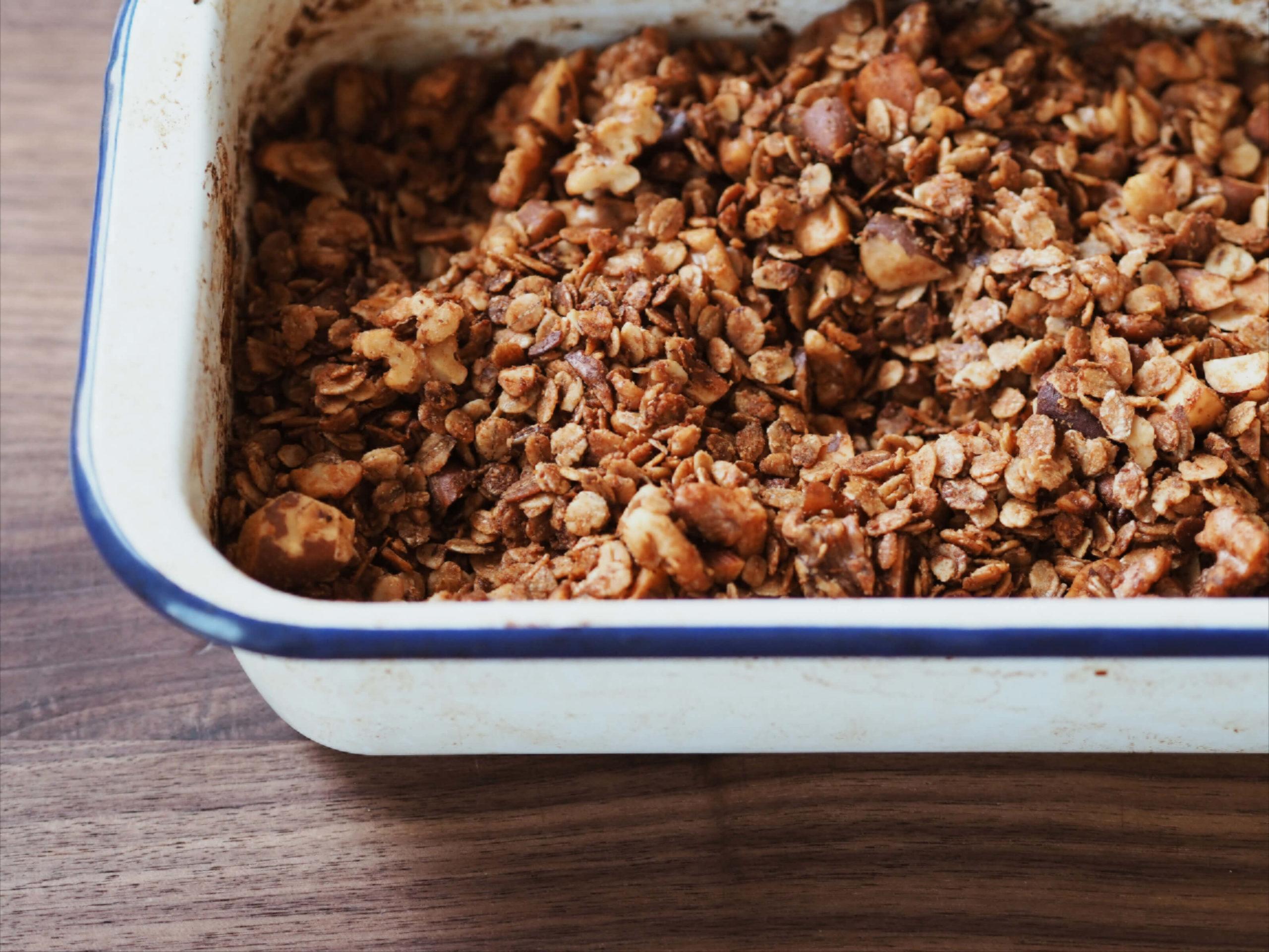 Tahini Granola |goldgelb gebacken |Müsli