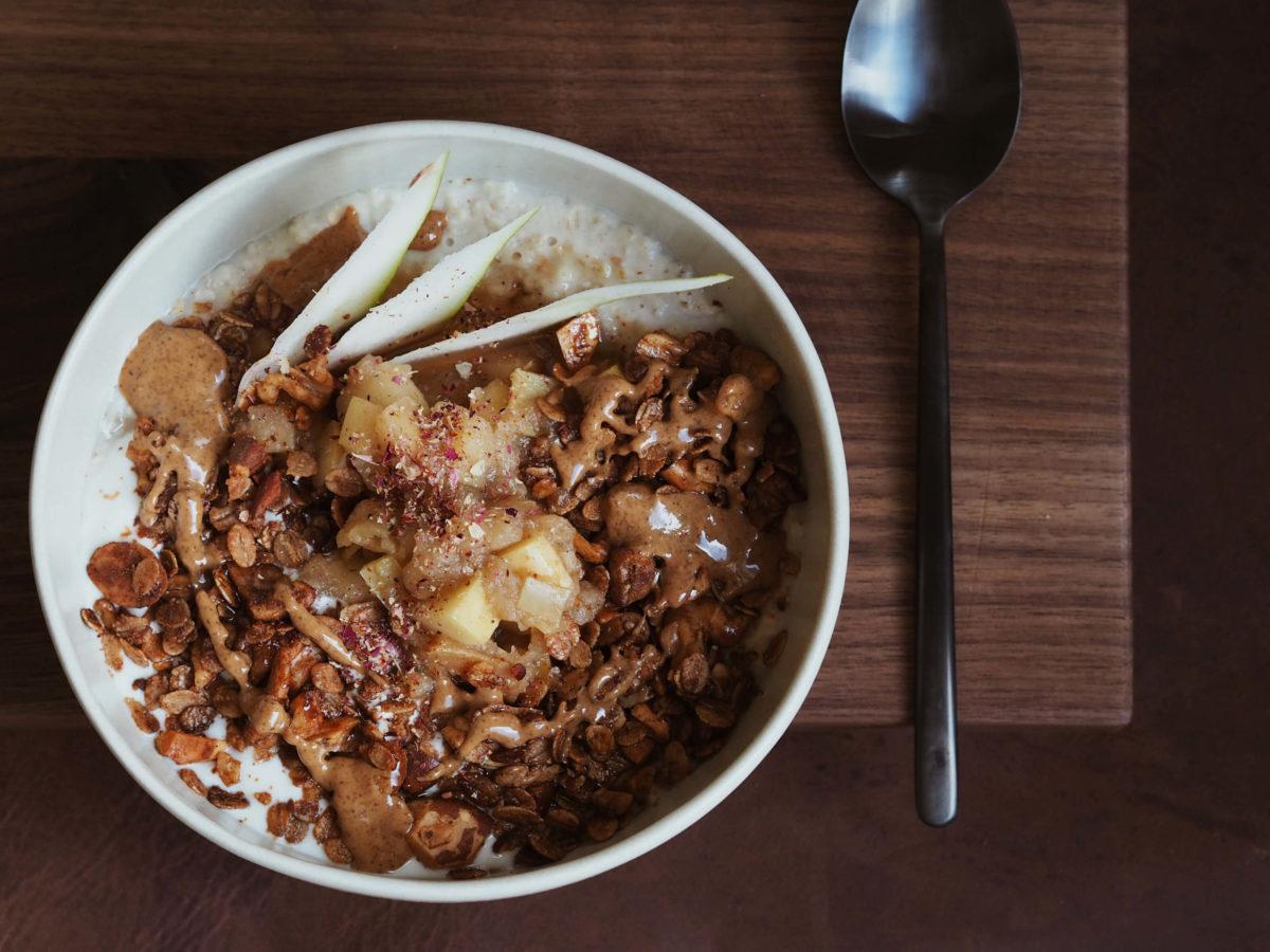 Tahini Granola |Frühstück |Müsli |Apfelkompott