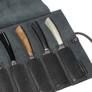 Steakmessertasche Leder, Messertasche für Steakmesser, Rolltasche für Steakmesser, Ledertasche für Steakmesser, Wunschleder Home