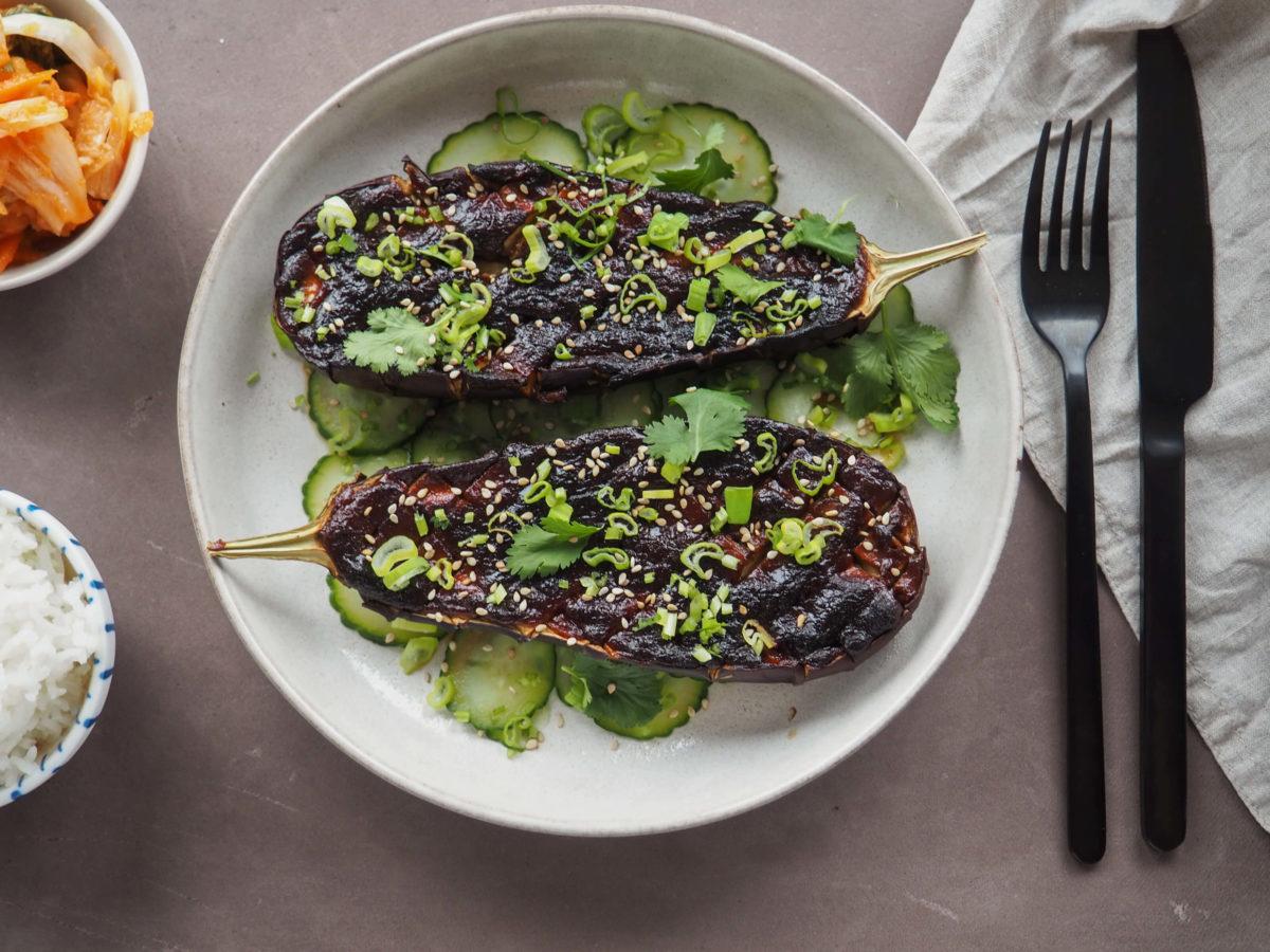 Miso Aubergine |schnelles Essen |asiatisch | Gurkensalat