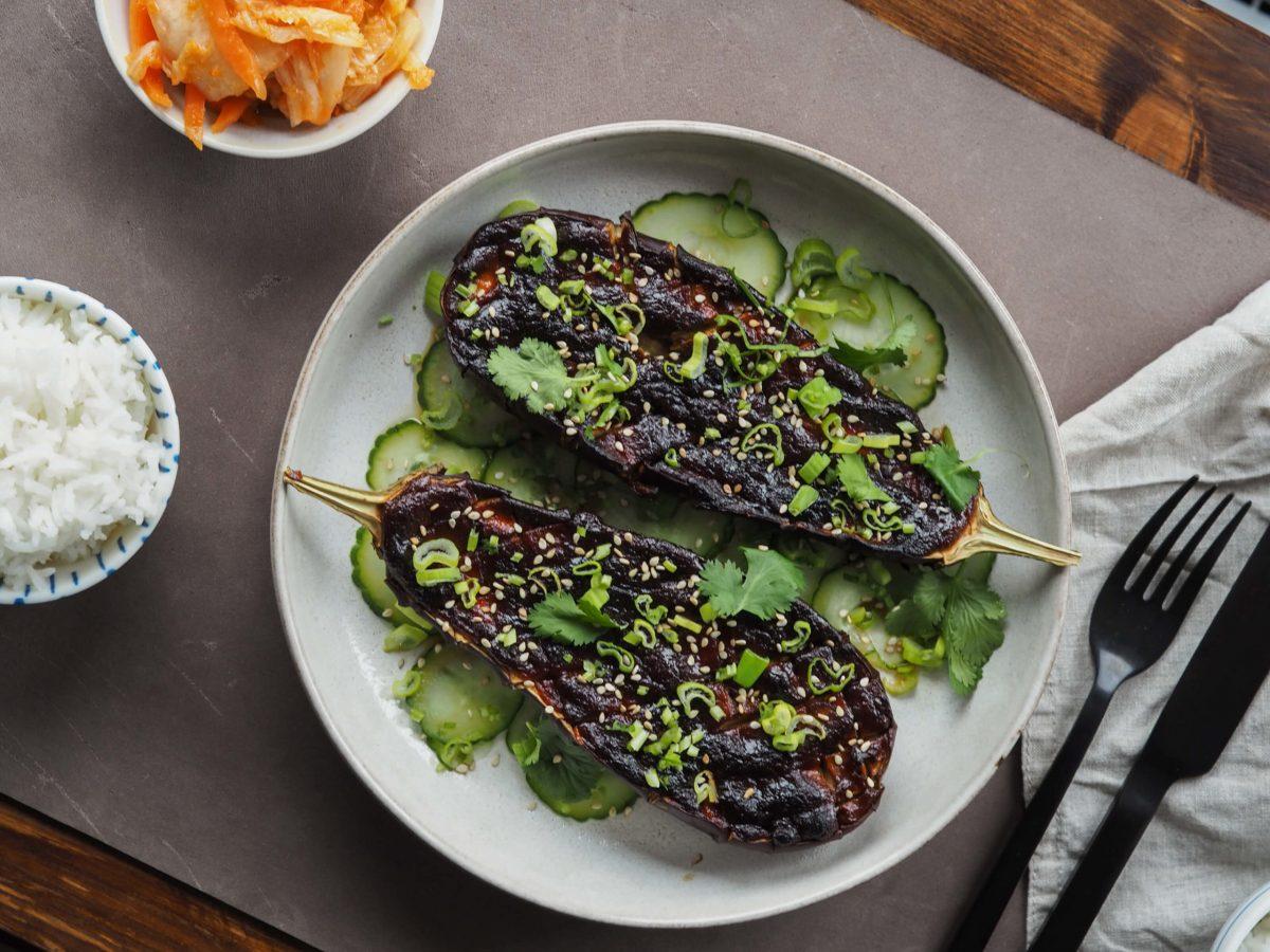 Miso Aubergine |Mittagessen |Jasminreis |Gurke |Kimchi