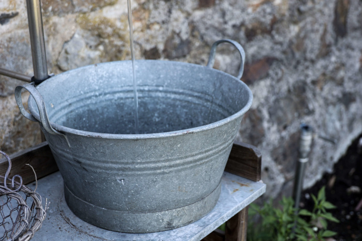 Garten  Zinkwanne   Wasser