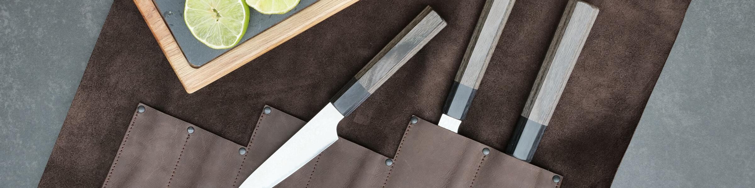 Rolltasche, Rolltasche Leder, Rolltasche für Messer, Rolltasche Küchenmesser, Messertasche Kochmesser, Wunschleder Home