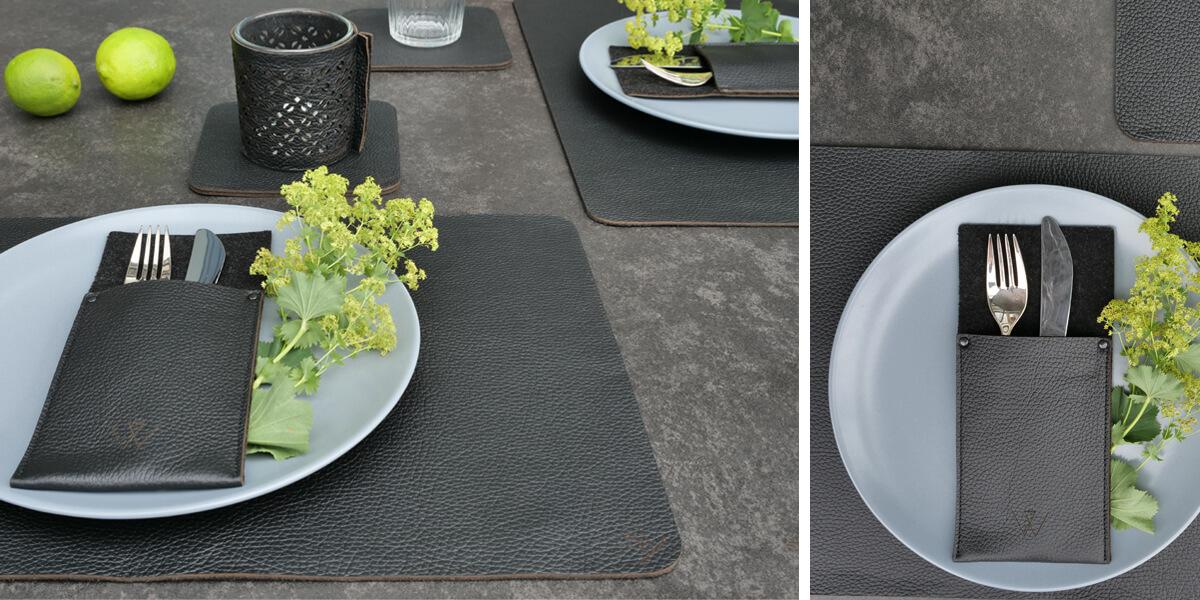 Tischdeko, Tischdekoration Leder, Dekoration, Interior, Wunschleder Home