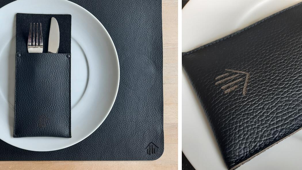 Tischdeko mit Logo-Gravur, Wunschleder HOME