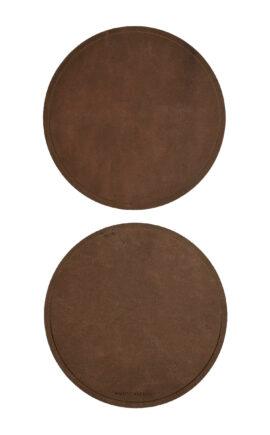 Untersetzer Leder   rund   rustikales Leder     Durchmesser 10 oder 15 cm   2 Stück   arrivato