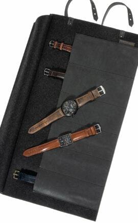 Uhrenrolltasche Rindleder, Uhrentasche Leder, Uhrenetui Leder   arrivato