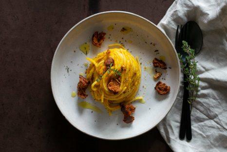 Kürbissauce, Linguine, Pumpkin Pasta, Kürbis, Herbst, Chorizo, Kräuter